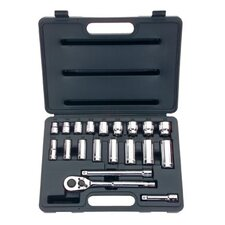 20 Piece Standard & Deep Socket Sets - set skt 20 pc 3/8 dr 12