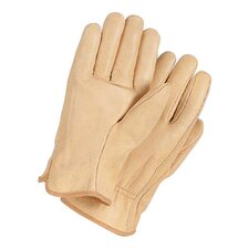 Medium Tan Grain Cowhide Unlined Gunn Cut Drivers Gloves With Straight Thumb And Bound Hem