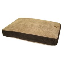Gusset Suede Pillow Dog Bed in Beige / Chocolate