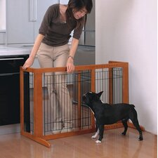 Tall Wooden Freestanding Pet Gate in Autumn Matte Finish