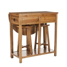 Preston 3 Piece Bar and Stool Set in Distressed Oak