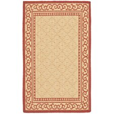 Courtyard Natural/Red Rug Set