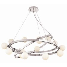 Nitrogen 15 Light Cable Articulating Chandelier with Opal Glass