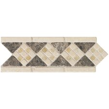 "Artistic Accent Statements 10"" x 3-1/2"" Diamond Mosaic Decorative Border in Emperador/Onyx"