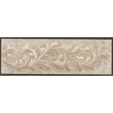 "Natural Primabella 12"" x 4"" Cascading Leaves Decorative Listello in Cappuccino"