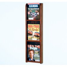 Three Magazine Oak and Acrylic Wall Display