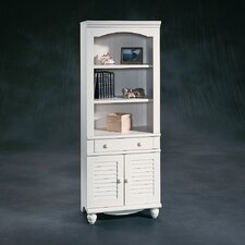 Harbor View Library with Doors in Distressed Antiqued White