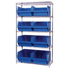 "Q-Stor 5 Shelf Unit with Magnum Bins (74"" H x 42"" W x 18"" D) with Optional Mobile Kit"