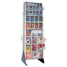 "75"" Double Sided Floor Stand Storage Unit with Tip Out Bins"