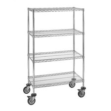 "Small 74"" Q-Stor Chrome Wire Shelving (Starter Kit) with Optional Mobile Kit"