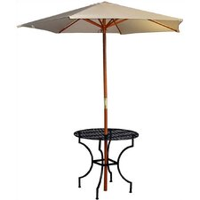 "Easy to Assemble Iron Round Dining Table with 2"" Umbrella Holder"