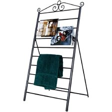 Swirl Blanket/Magazine/Towel Rack in Black