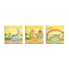 Dinosaur Kingdom Wooden Wall Art 3 Piece Set