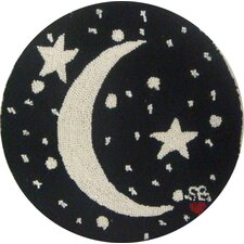 "Starry Night Round: 15"" x 15"" - Black Moon Chair Pad"