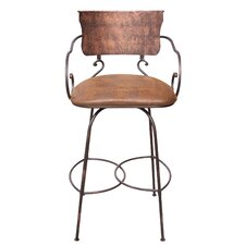 Hand Forged Swivel Bar Stool with Arms