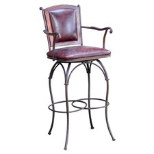 Swivel Bar Stool with Leather Back