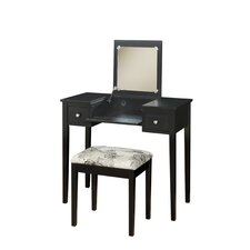 Vanity Set with Butterfly Bench in Black