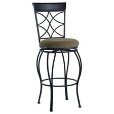 "30"" Curves Back Bar Stool in Metallic Brown & Brown Wood"