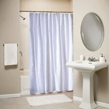 Ruffled White Shower Curtain