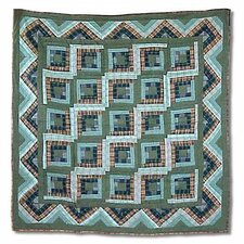 Green Log Cabin Cotton Throw Quilt