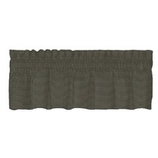 Green Hunter and Tan Checks Old Cotton Rod Pocket Tailored Curtain Valance