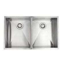 "33"" x 20"" Esatto Double Bowl Kitchen Sink"
