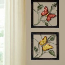 Butterfly Metal Wall Plaque (Set of 2)