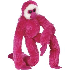 Hanging Gibbon Stuffed Animal in Magenta