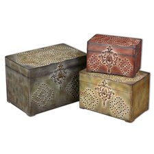 Hobnail Boxes in Red, Green and Gold (Set of 3)