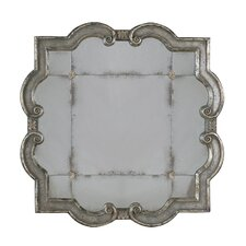 Prisca Etched Mirror in Distressed Silver Leaf
