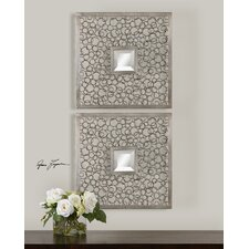 Colusa Squares Mirror in Antique Light Silver (Set of 2)