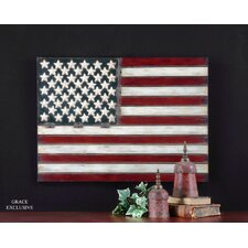 "American Flag Wall Art by Grace Feyock - 25.75"" X 36""  in Aged Red"