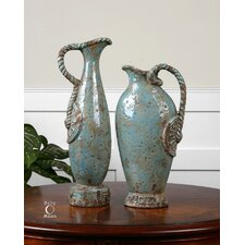 Freya Two Piece Vases in Distressed Crackled Sky Blue