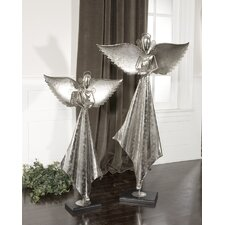 Two Piece Angels Sculpture in Antique Nickel