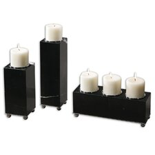 Jett Black Marble Candleholders (Set of 3)