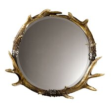 Stag Horn Wall Mirror in Ivory & Natural Brown