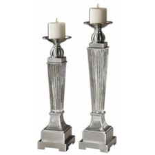 2 Piece Canino Mercury Glass Candlestick Set