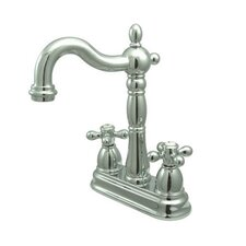 Heritage Double Handle Centerset Bar Faucet with Metal Cross Handles