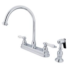 Restoration Deck Mount Double Handle Centerset Kitchen Faucet with Porcelain Lever Handles and Side Spray