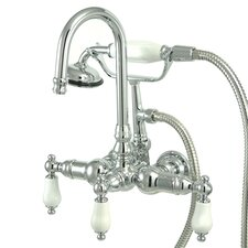 Vintage Three Handle Wall Mount Clawfoot Tub Faucet with Handshower