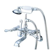 Hot Springs Double Handle Wall Mount Clawfoot Tub Faucet Trim Metal Lever Handle