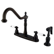 New Orleans Double Handle Centerset Kitchen Faucet with Porcelain Lever Handles