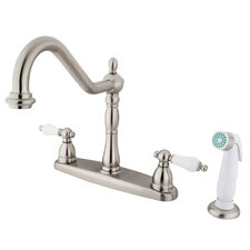 Heritage Double Handle Centerset Kitchen Faucet with Porcelain Lever Handles
