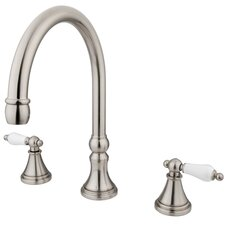 Madison Double Handle Deck Mount Roman Tub Faucet Trim Porcelain Lever Handle