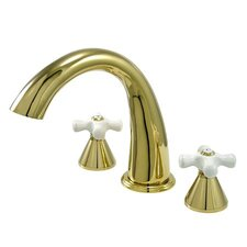 Double Handle Deck Mount Roman Tub Faucet Trim Porcelain Cross Handle