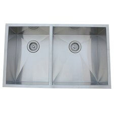 "33"" x 20.06"" Undermount Offset Double Bowl Kitchen Sink"