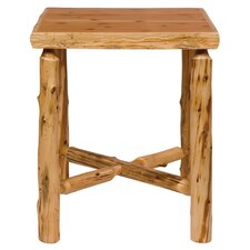 Traditional Cedar Log Square Pub Table and Barstool with Back