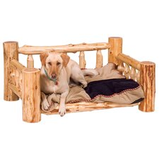Traditional Cedar Log Dog Bed with Standard Mattress