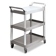 Commercial Economy Plastic Cart, 3-Shelf