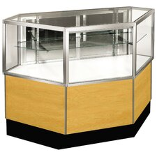 "Streamline 38"" x 42"" Half Vision Inside Corner Showcase with Mirror Back"